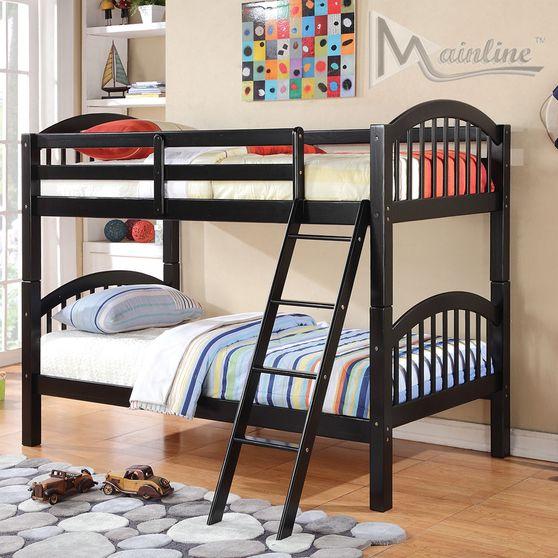 Black finish bunk bed