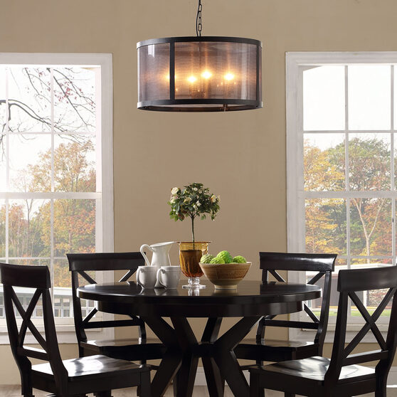 Round contemporary chandelier in industrial rustic style