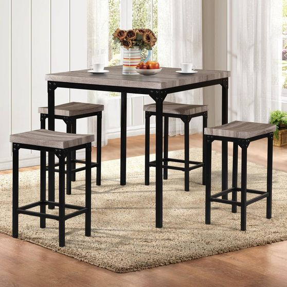 Casual counter height 5pcs dining set