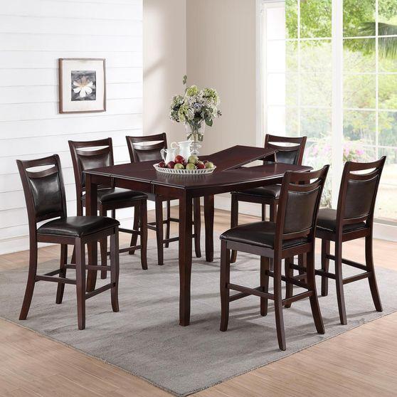 Counter height dark espresso table w/ leaf