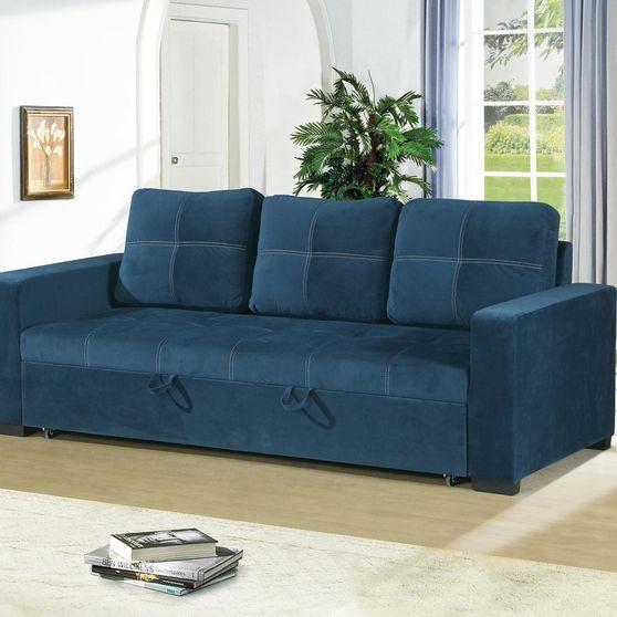 Navy polyfiber fabric convertible sofa
