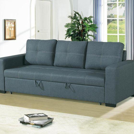 Blue gray fabric sofa bed in polyfiber fabric
