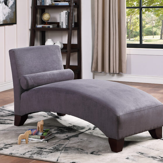 Gray microfiber chaise lounge