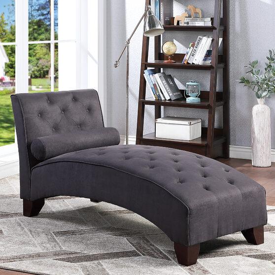 Ebony microfiber chaise lounge