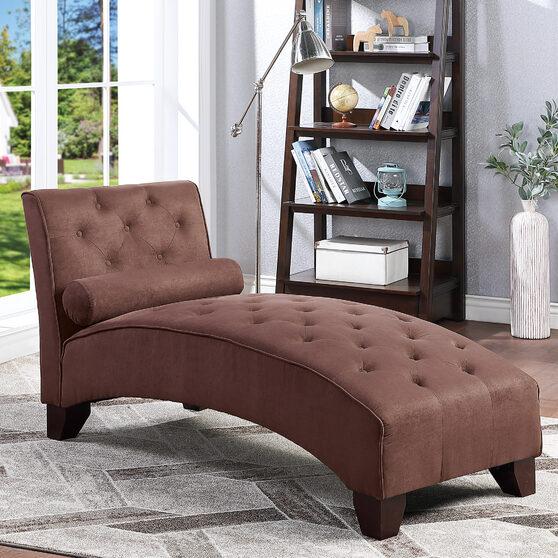 Chocolate microfiber chaise lounge