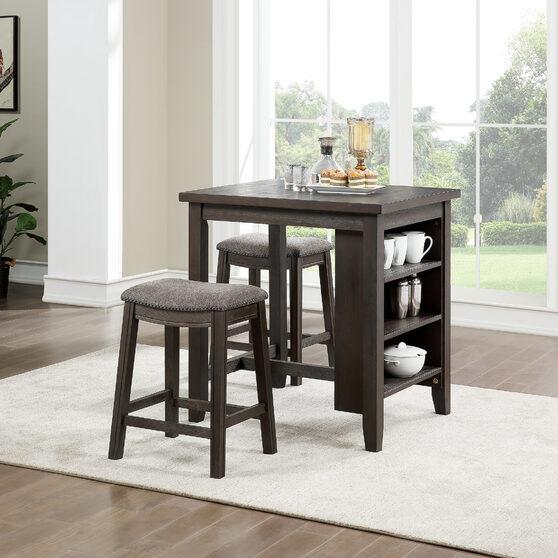 Counter height dark brown wood 3pcs set