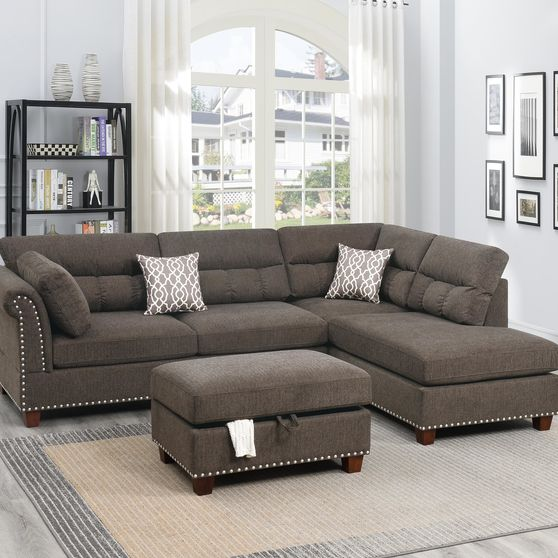 Tan velvet fabric upholstery casual style sectional set