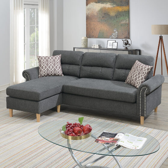 Slate velvet fabric sectional set