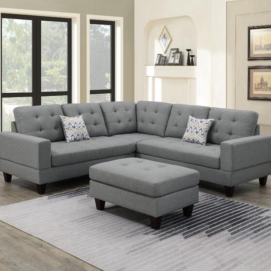 Gray polyfiber 3-pcs sectional set