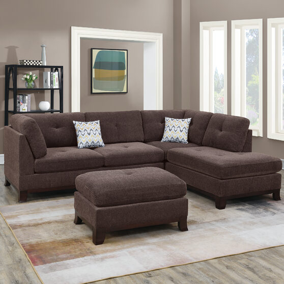 Dark coffee chenille upholstery 3-pcs sectional set