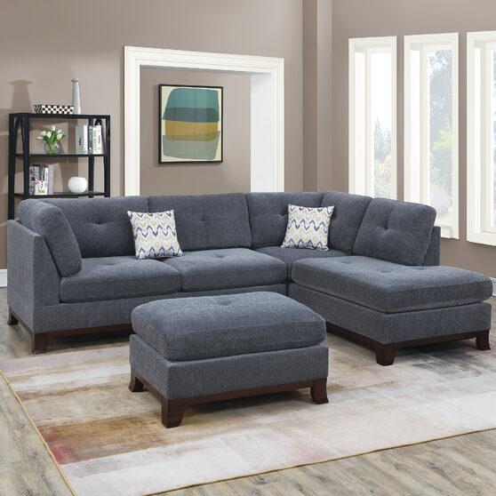 Ash gray chenille upholstery 3-pcs sectional set