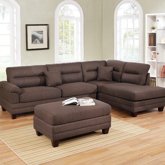 Black coffee fabric 3-pcs sectional set