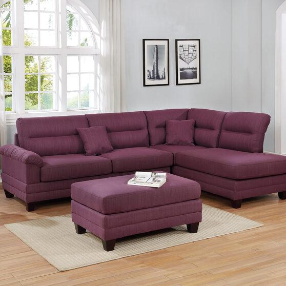 Warm purple fabric 3-pcs sectional set