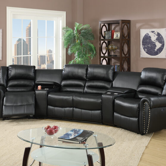 Black bonded leather handle motion 5-pc / theater sectional