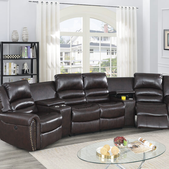 Brown bonded leather handle motion 5-pc / theater sectional
