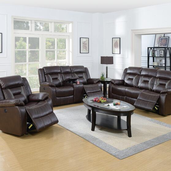 Handle motion recliner sofa in dark brown gel leatherette