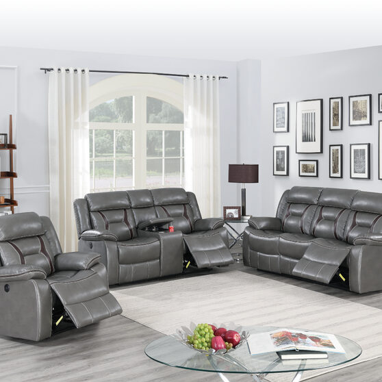 Handle motion recliner sofa in gray gel leatherette
