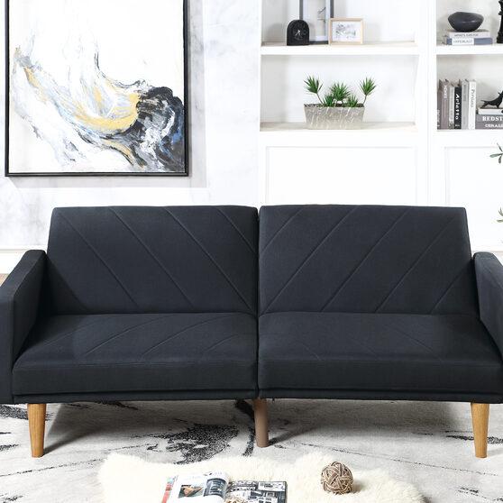 Black polyfiber adjustable sofa bed