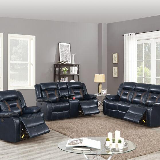 Power motion recliner sofa in ink blue gel leatherette