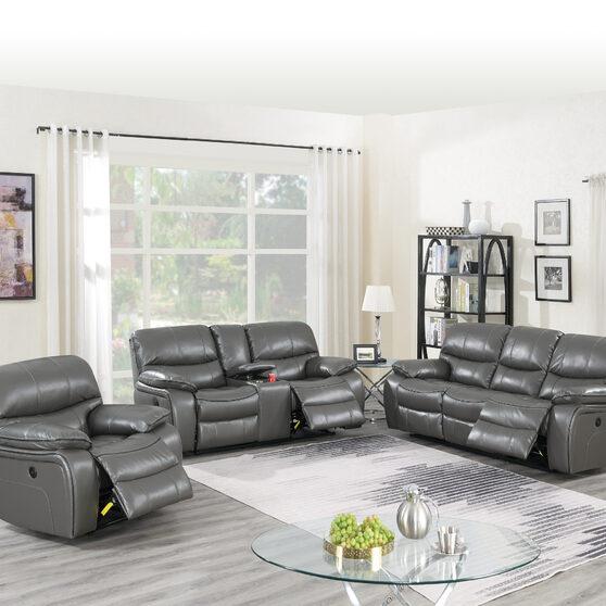 Power motion recliner sofa in dark gray gel leatherette