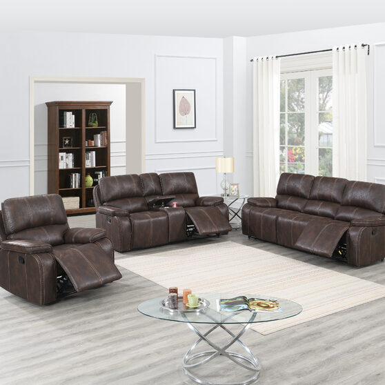 Power motion recliner sofa in chocolate leather-like fabric