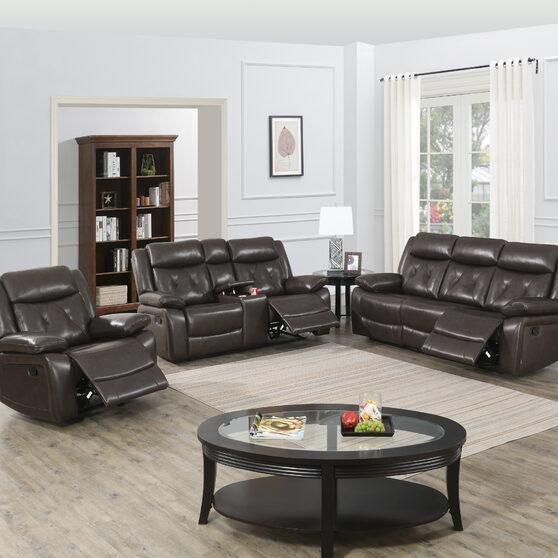 Power motion recliner sofa in dark brown gel leathere
