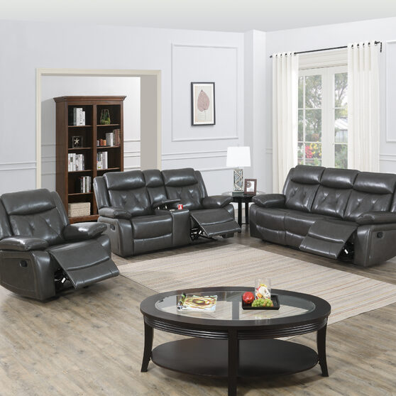 Power motion recliner sofa in gray gel leathere