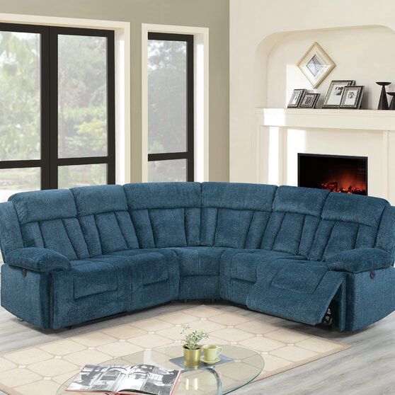 Dark blue chenille power motion 3-pc reclining sectional sofa