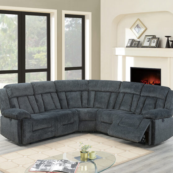 Gray chenille power motion 3-pc reclining sectional sofa