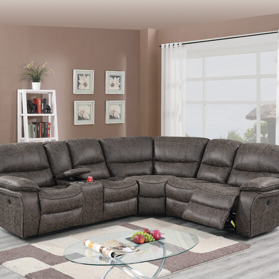 Taupe palomino fabric power motion 3-pc reclining sectional sofa
