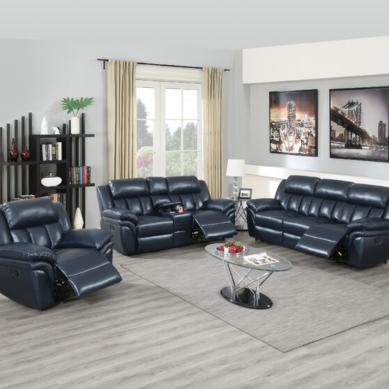 Handle motion recliner sofa in navy blue gel leatherette