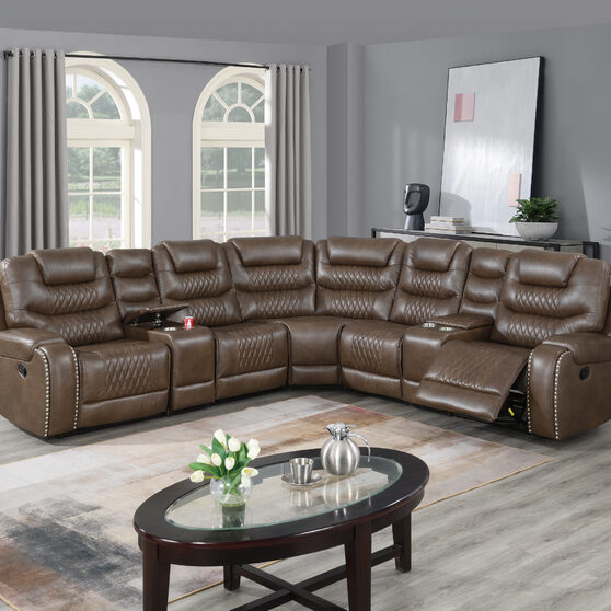 Handle motion 3-pc reclining sectional set in brown gel leatherette