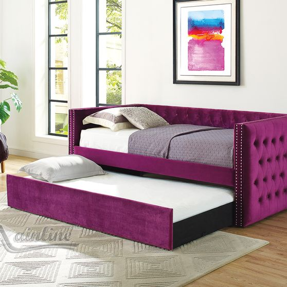 Violet tufted twin size daybed w/ trundle & platforms