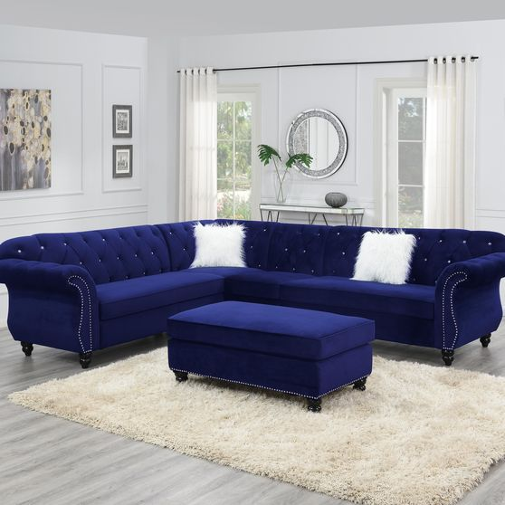 4pcs royal style tufted back blue sectional sofa