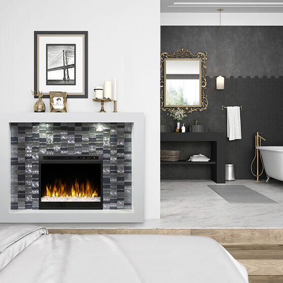 White crystal stylish fireplace unit