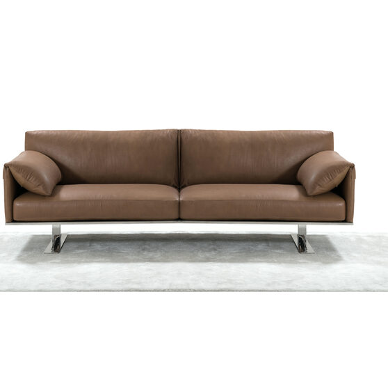 Sofa, 100% made in Italy, taupe top grain leather