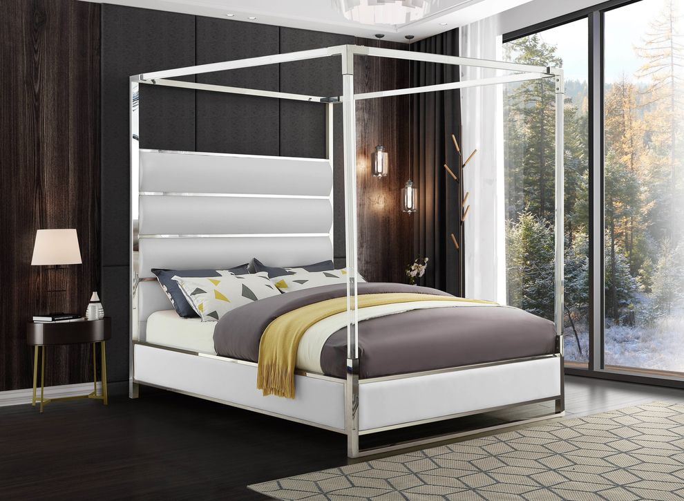 Encore White King Size Bed, Canopy Bed King Size