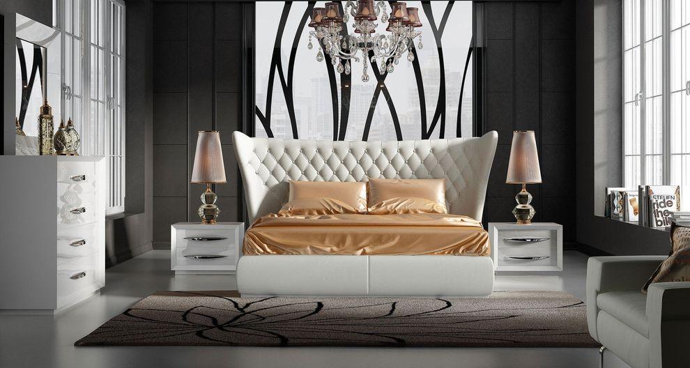 Miami white bed stock photo