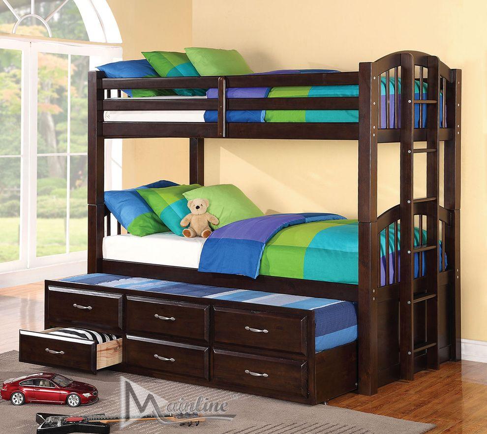Triplex Espresso Twin Size Bed 98040 Mainline Inc Kids Bedroom Furniture Comfyco Furniture