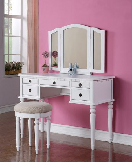 Modern white vanity set w/ stool
