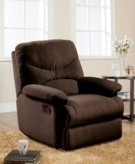 Chocolate microfiber recliner chair