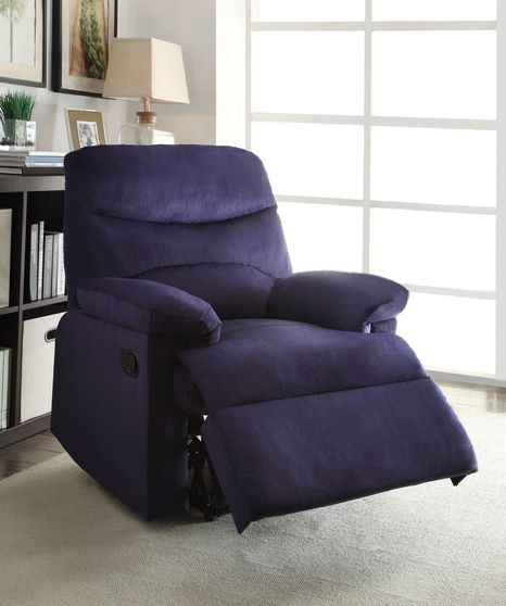 Blue woven fabric recliner chair