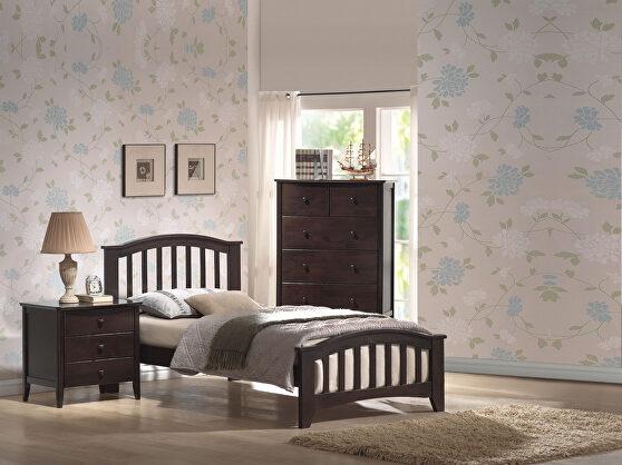 Dark walnut twin bed
