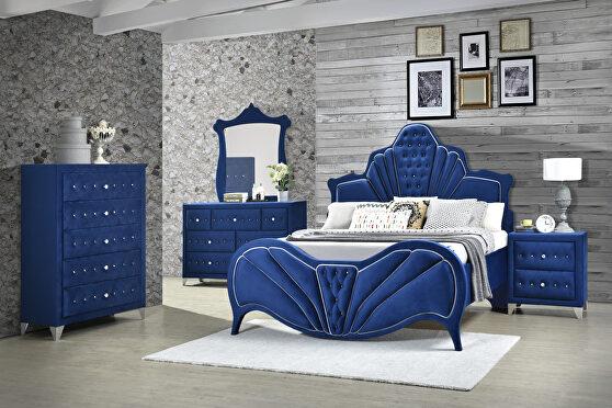 Blue velvet queen bed