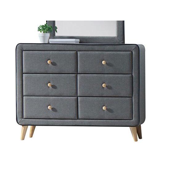 Light gray fabric dresser