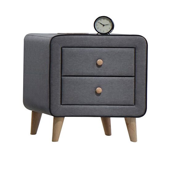 Light gray fabric nightstand