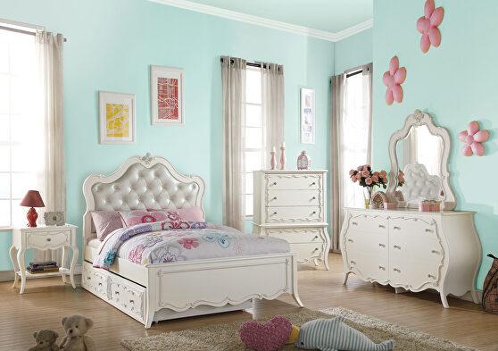 Pu & pearl white full bed