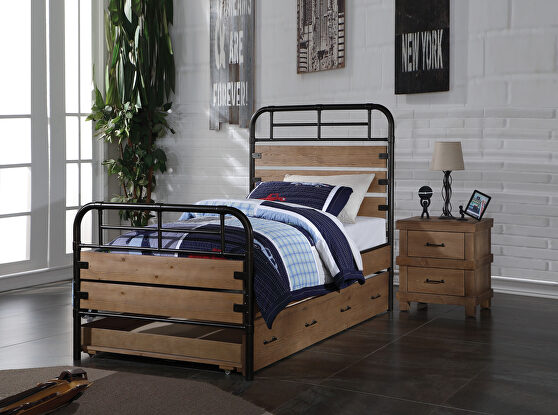 Antique oak & gunmetal twin bed