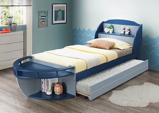 Gray & navy twin bed