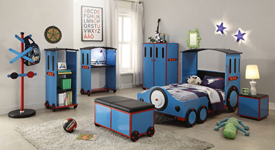 Blue/red & black train twin bed